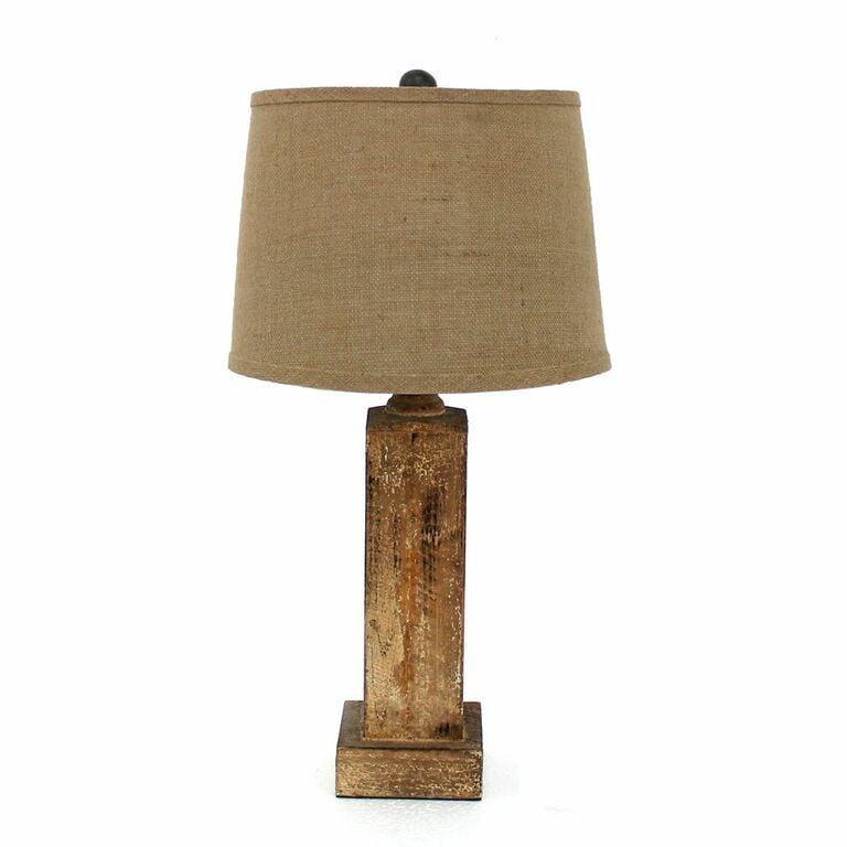Shop Teton Home 2 Tl 007 Natural Wood Block Table Lamp On Sale