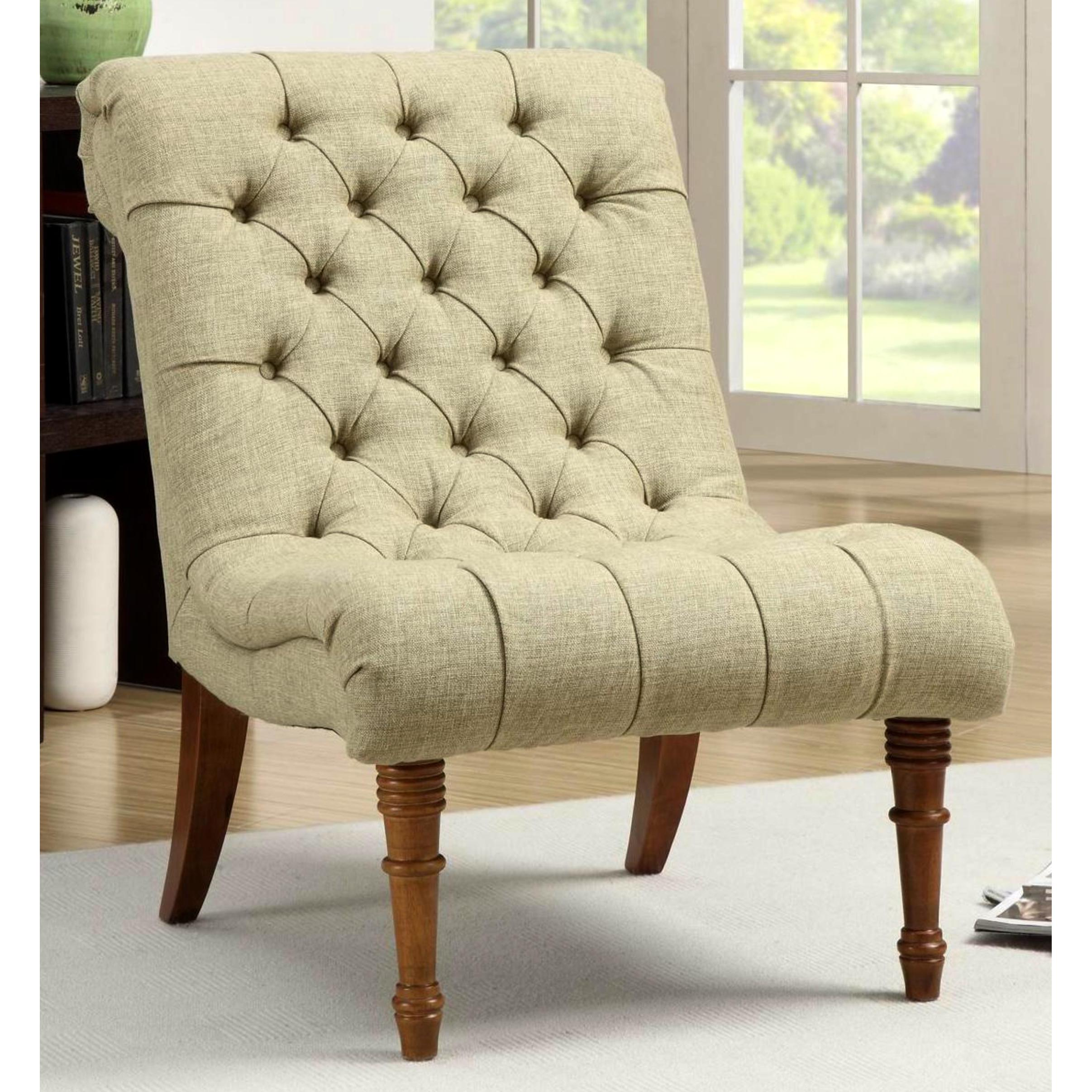 Classic Button Tufted Mossy Green Living Room Accent Chair - Free ...