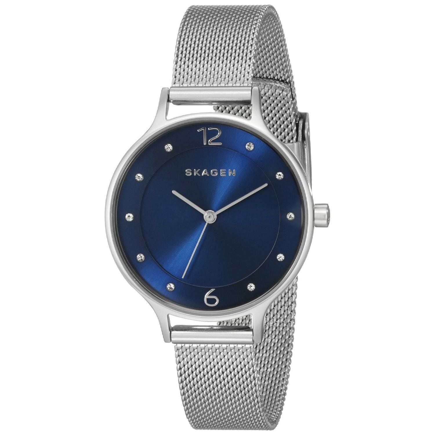 Shop Skagen Women s SKW2307 Anita Diamond Blue Dial Stainless Steel Mesh  Bracelet Watch - Free Shipping Today - Overstock - 10166692 eb6dd76ab3a