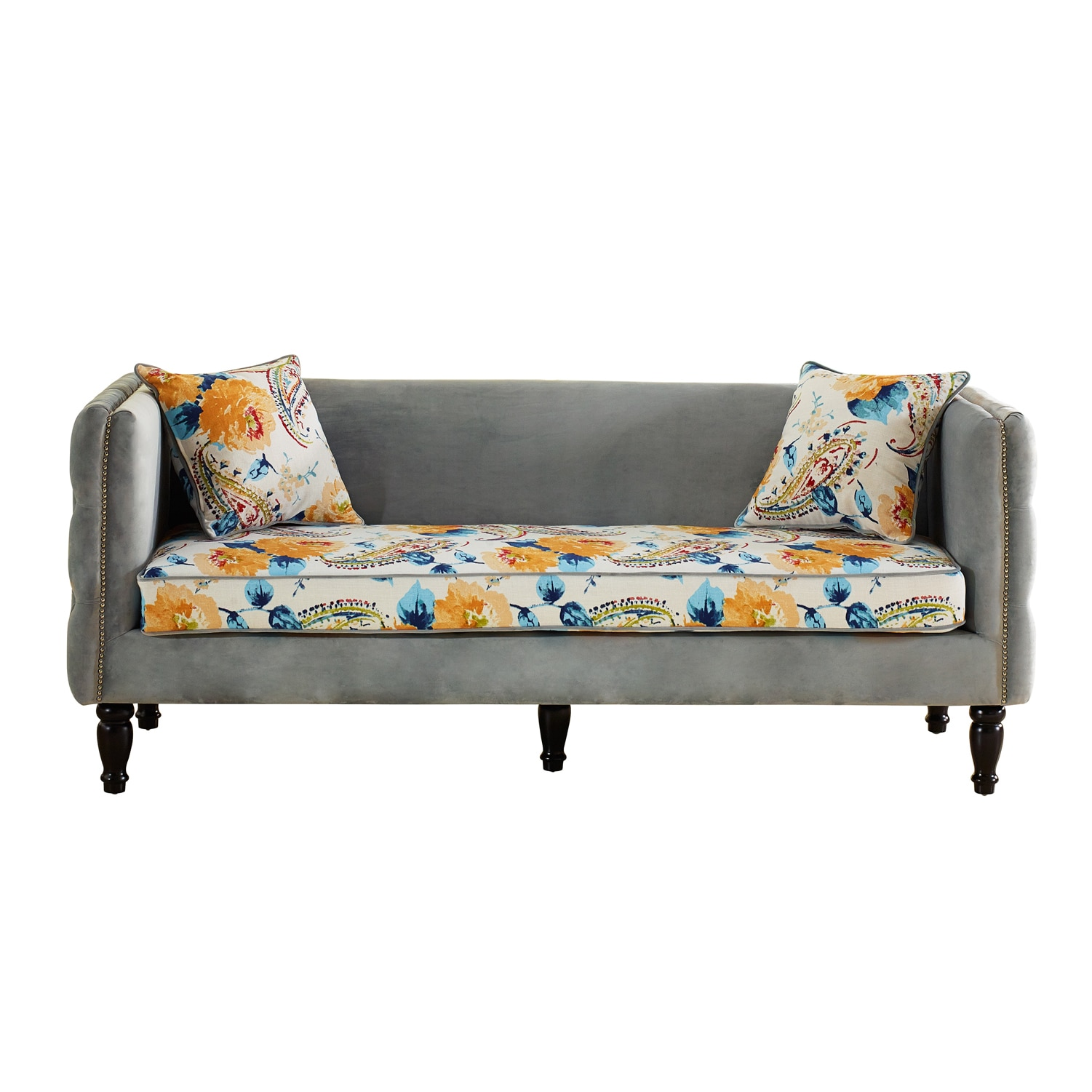 Shop Lily French Inspired Grey Velvet And Calico Upholstered Loveseat And  Sofa Set   Free Shipping Today   Overstock.com   10167184