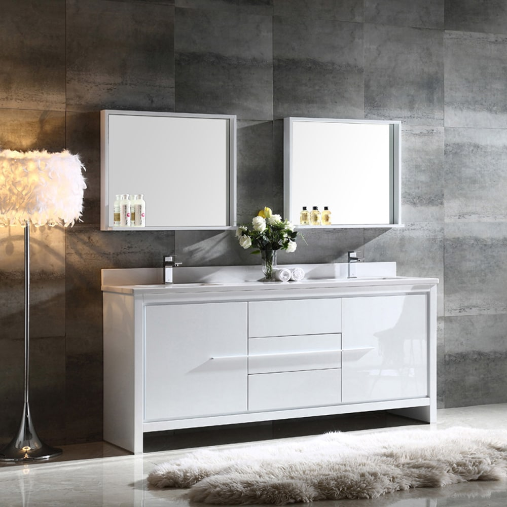 Fresca Allier 72 Inch White Modern Double Sink Bathroom Vanity With Mirror