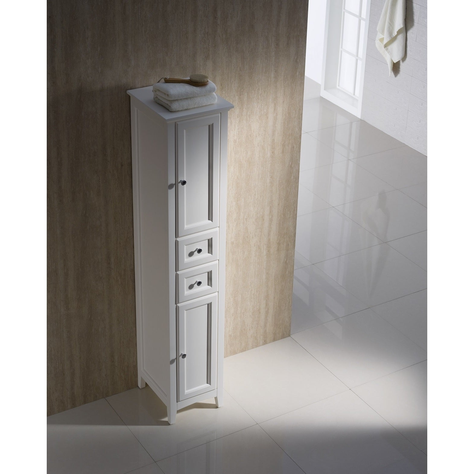 Shop Fresca Oxford Antique White Tall Bathroom Linen Cabinet - Free  Shipping Today - Overstock.com - 10167386 - Shop Fresca Oxford Antique White Tall Bathroom Linen Cabinet - Free