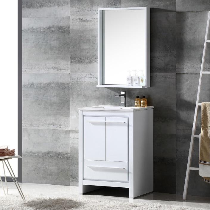 Shop Fresca Allier 24 Inch White Modern Bathroom Vanity With Mirror