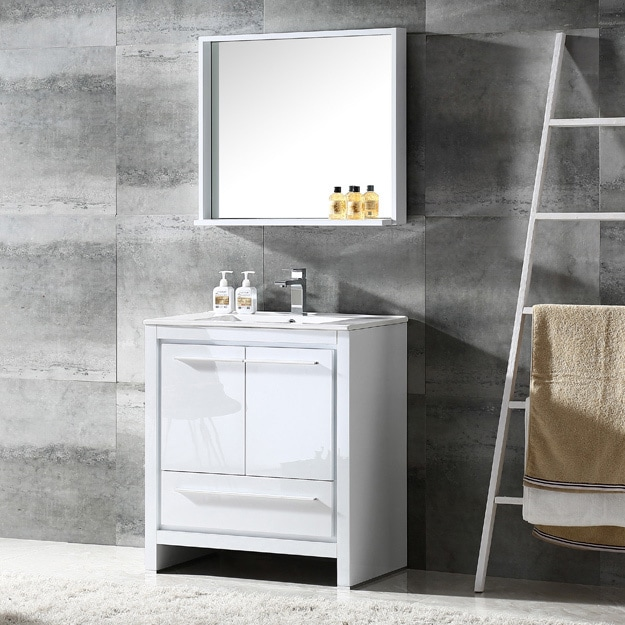 . Fresca Allier 30 inch White Modern Bathroom Vanity with Mirror