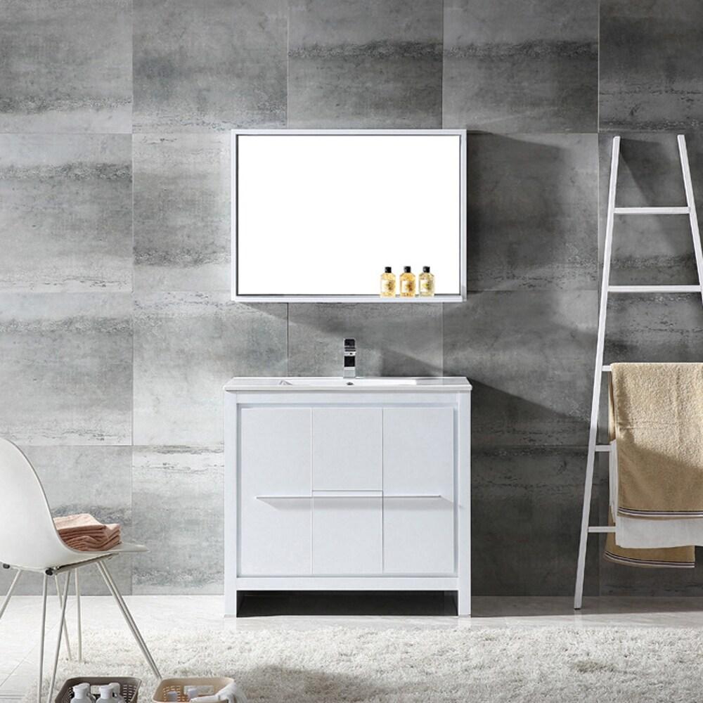 Shop Fresca Allier 36-inch White Modern Bathroom Vanity with Mirror ...