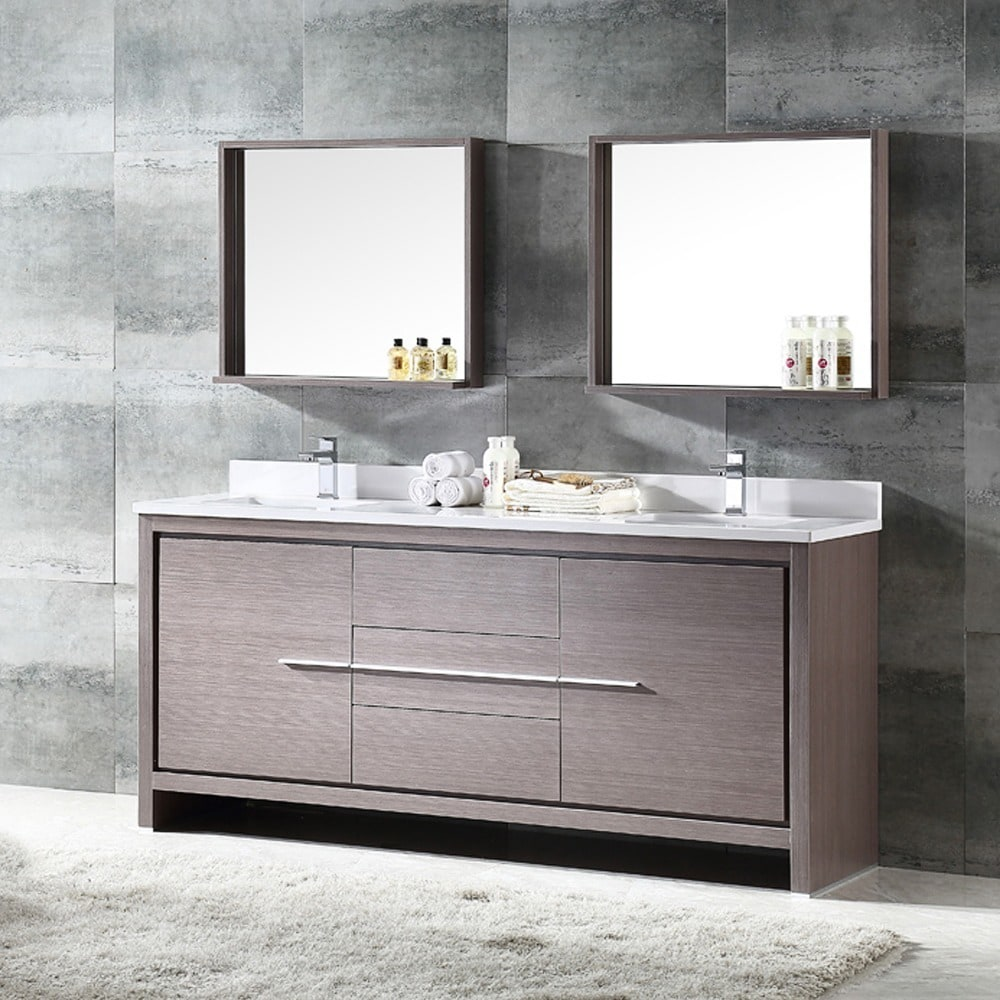 Shop Fresca Allier 72-inch Grey Oak Modern Double Sink Bathroom Vanity with Mirror - Free Shipping Today - Overstock.com - 10167419