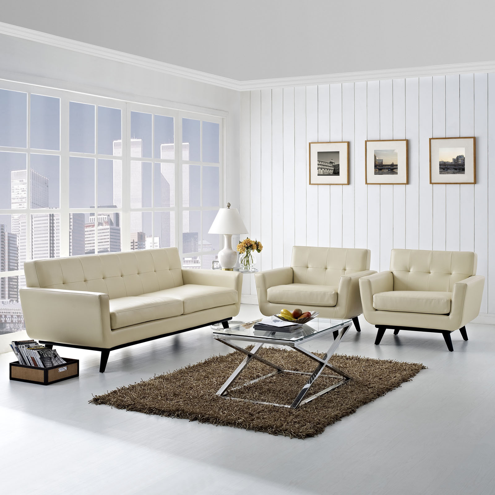 Shop Absorb 3-piece Leather Sofa and Armchairs Living Room Set - On ...