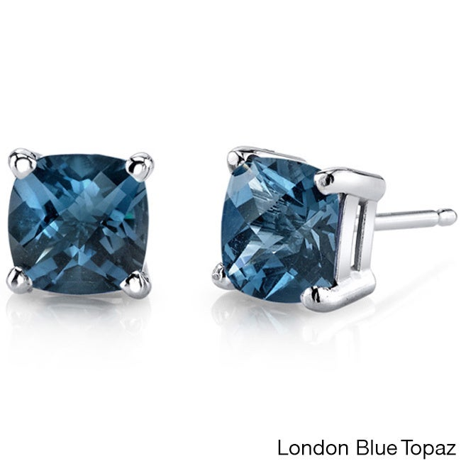 e0fbfe927 Shop Oravo 14k White Gold Cushion-cut Gemstone Stud Earrings - On Sale -  Free Shipping Today - Overstock - 10167574
