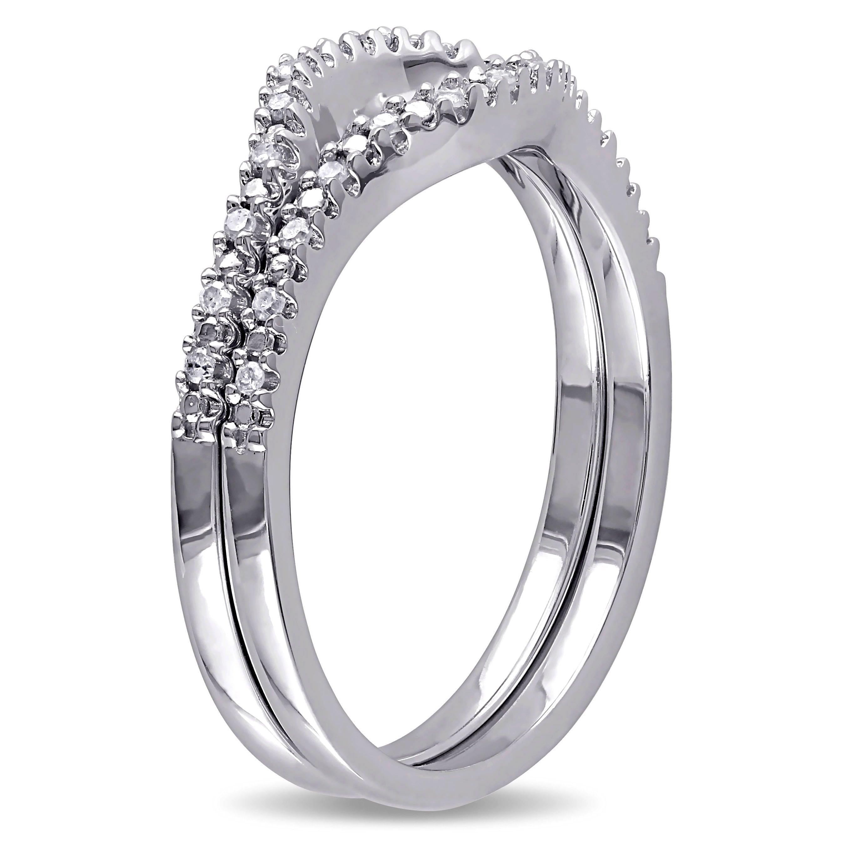 miadora sterling silver 1 10ct tdw diamond open circle wedding