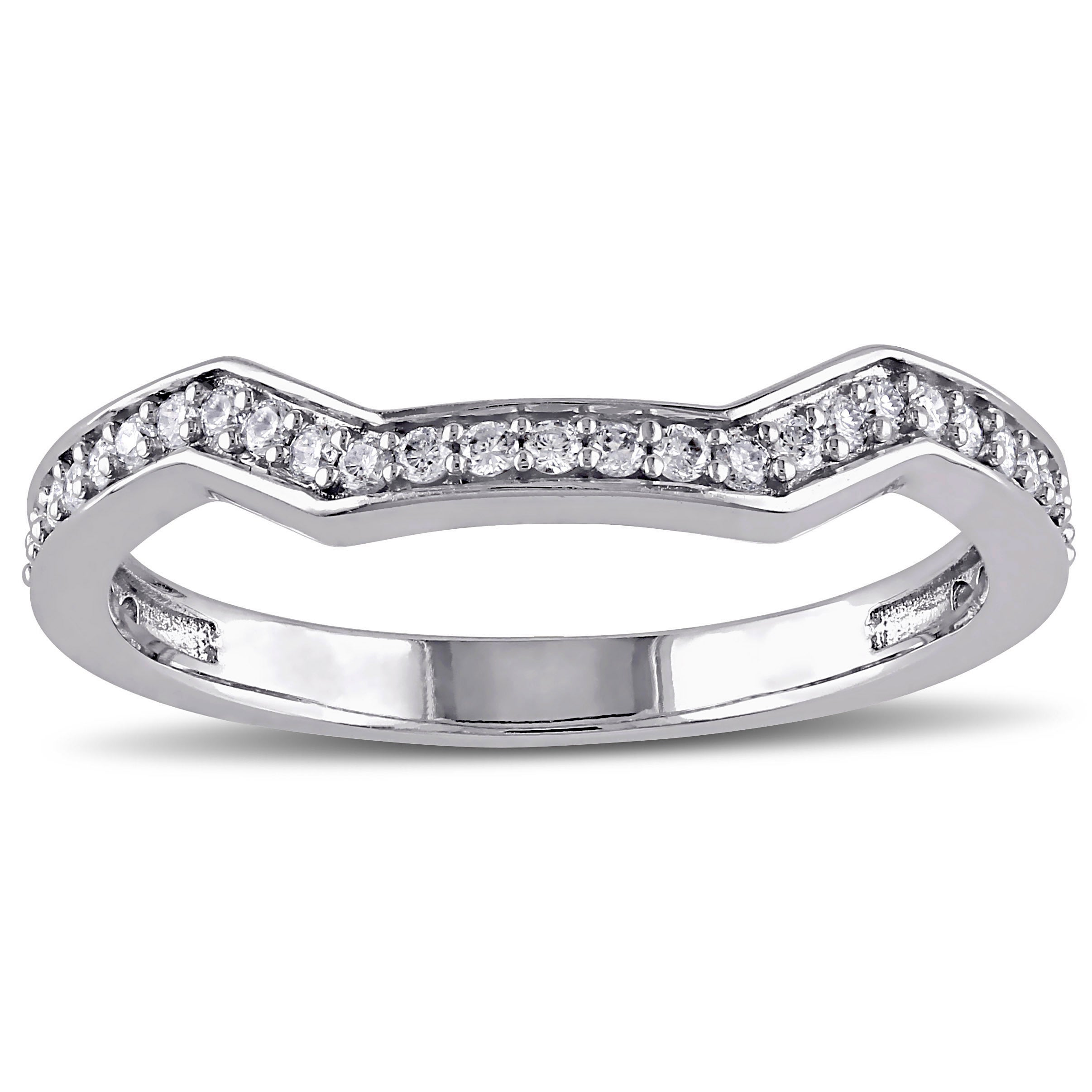 Miadora 14k White Gold 15ct Tdw Diamond Curved Wedding Band: Curved Wedding Band 0 5ct Diamonds At Reisefeber.org