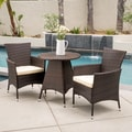 Melissa Outdoor 3-piece Wicker Bistro Set with Cushions by Christopher Knight Home