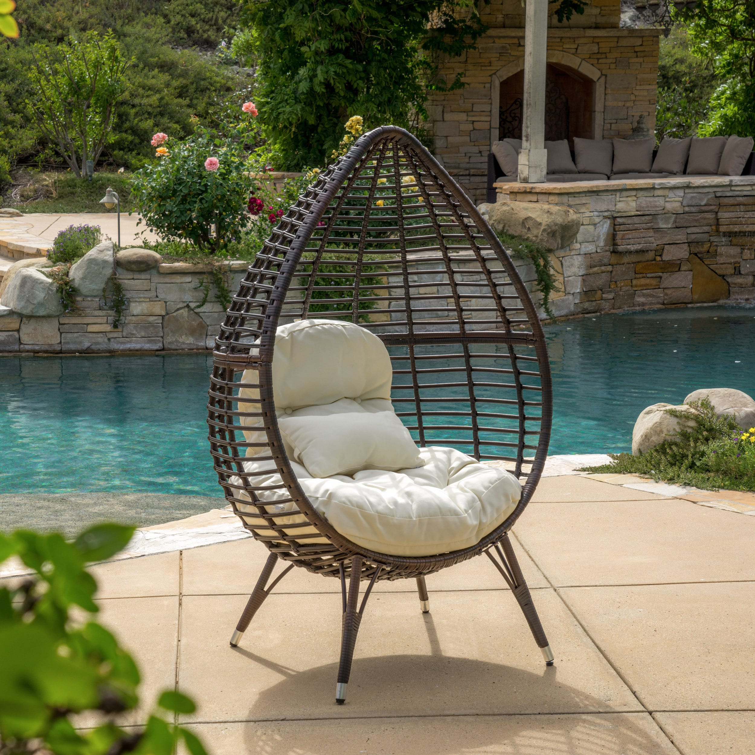 Cutter Teardrop Wicker Lounge Chair With Cushion By Christopher Knight Home    Free Shipping Today   Overstock.com   17298397