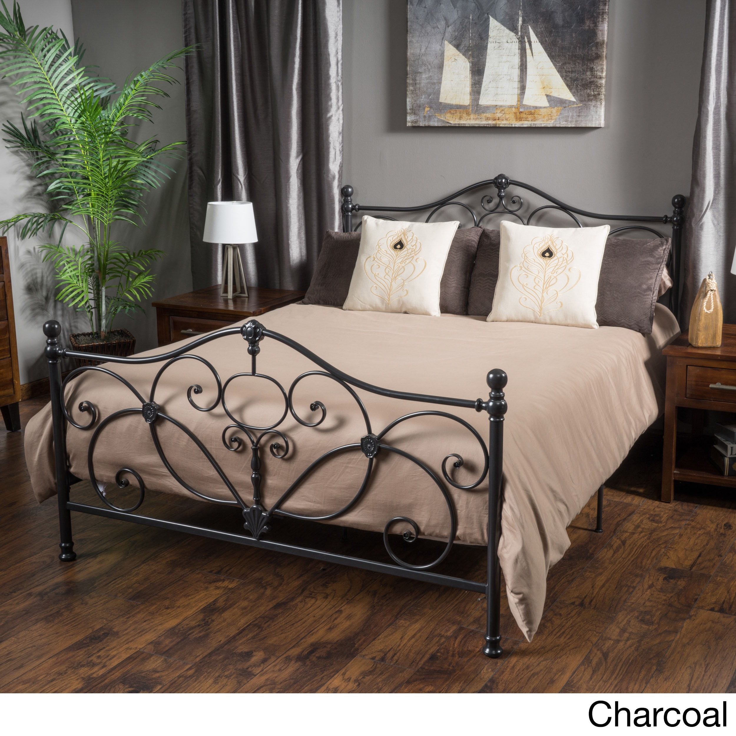 Marcus King-size Metal Bed Frame by Christopher Knight Home - Free ...