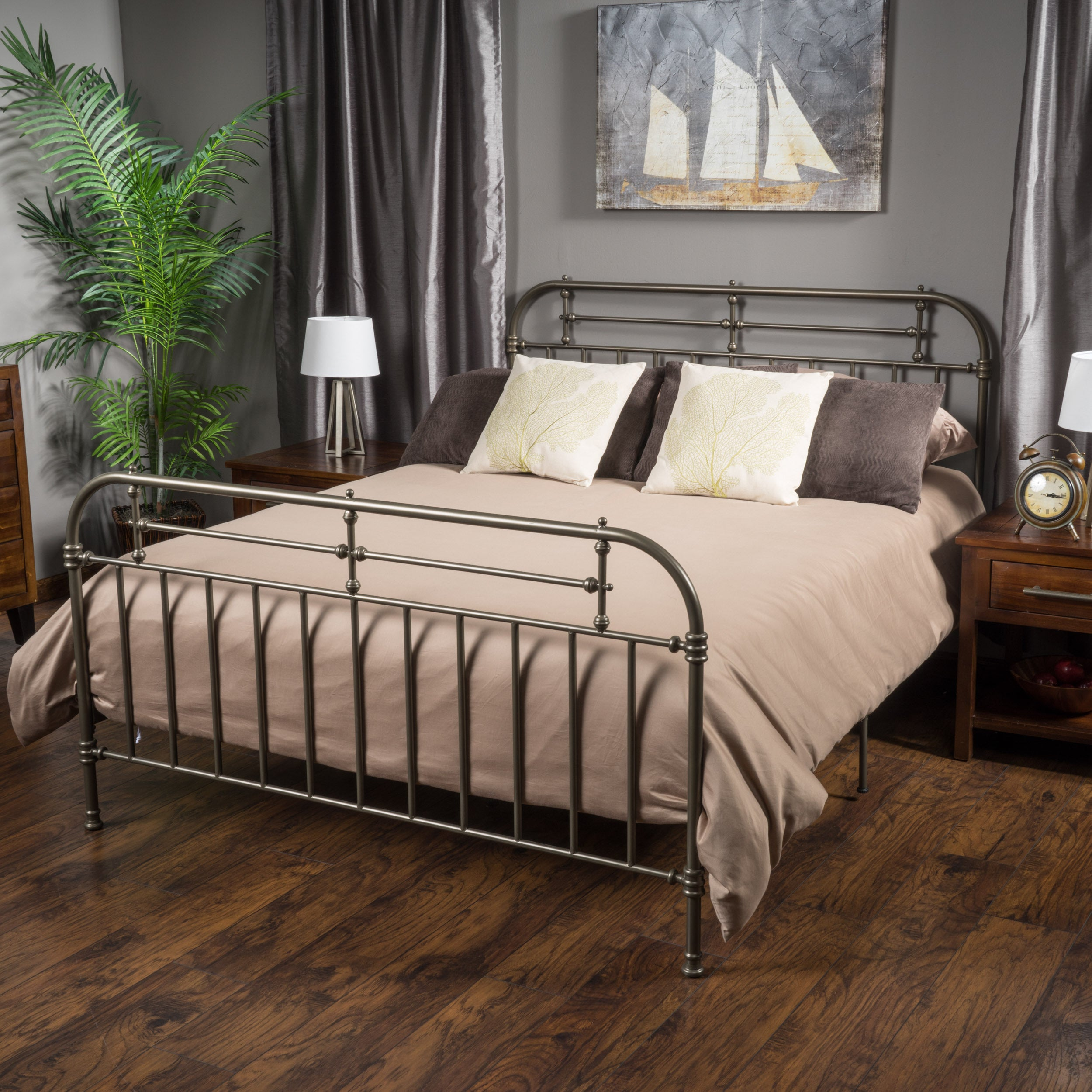 Shop Nathan King Size Metal Bed Frame By Christopher Knight Home   On Sale    Free Shipping Today   Overstock.com   10170619