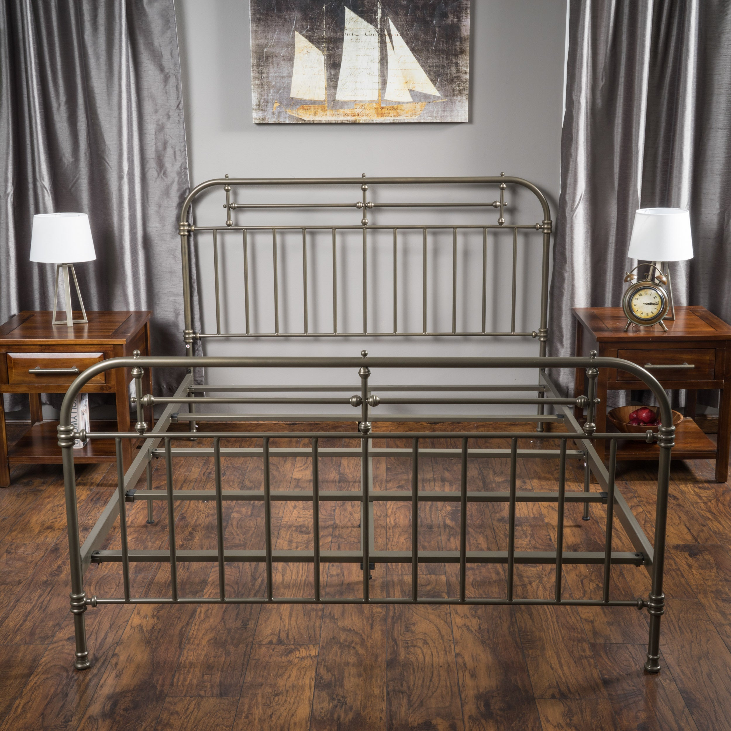 Nathan King Size Metal Bed Frame by Christopher Knight Home - Free ...