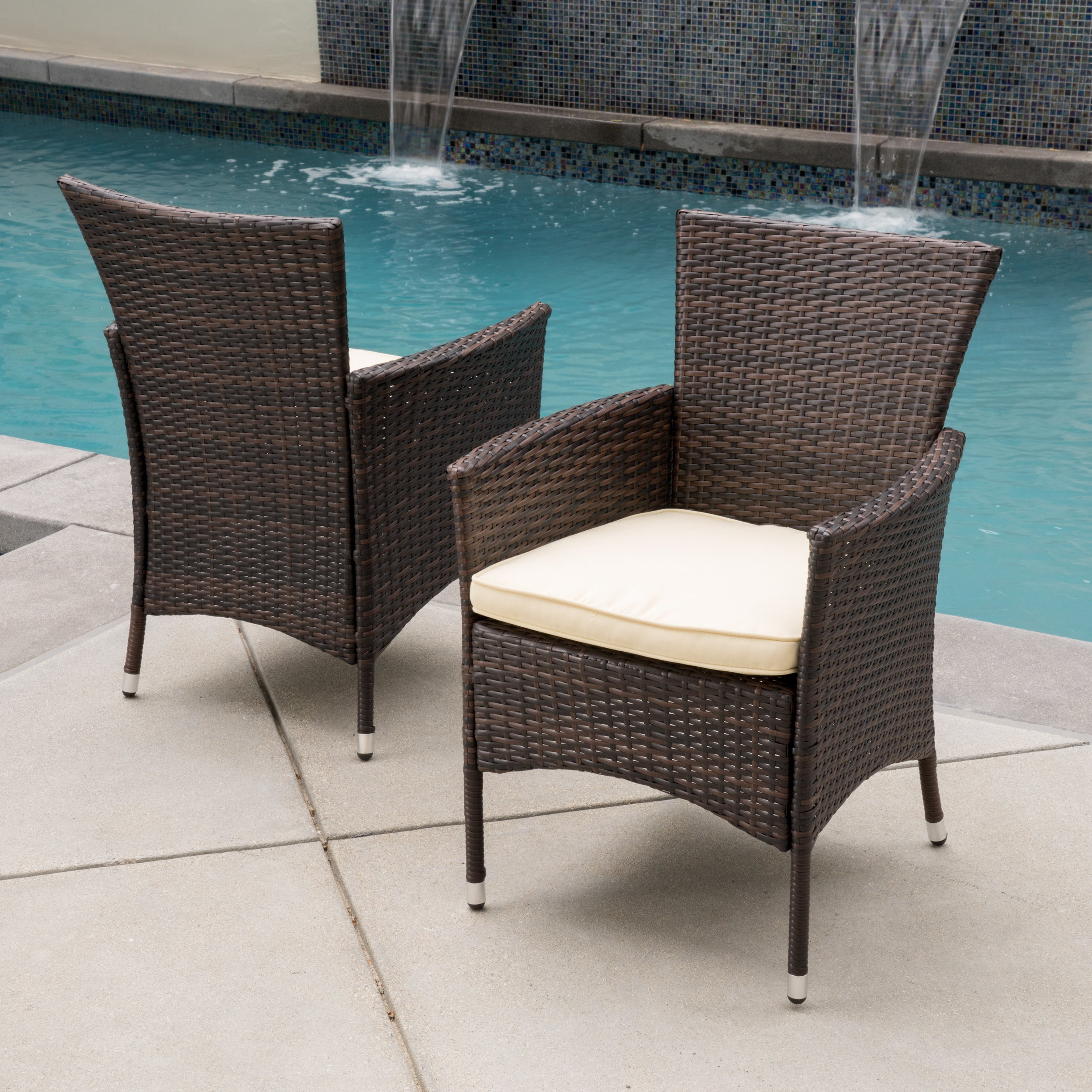 Malta Outdoor Wicker Dining Chair with Cushion by Christopher Knight Home ( Set of 2) - Free Shipping Today - Overstock - 17298403 & Malta Outdoor Wicker Dining Chair with Cushion by Christopher Knight ...