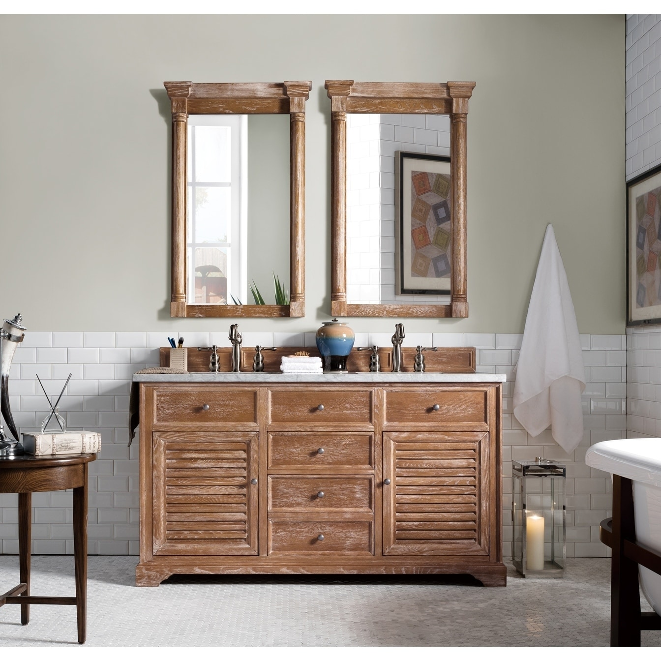 Savannah 60 Double Vanity Cabinet Driftwood Free Shipping Today 10171306