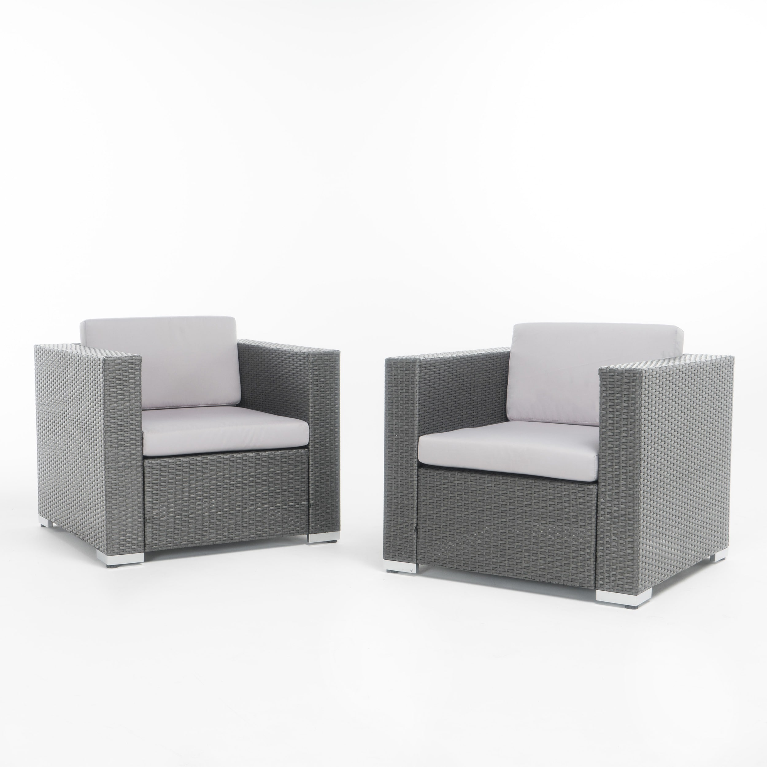 Murano Outdoor Aluminum Club Chair with Cushions (Set of 2) by ...