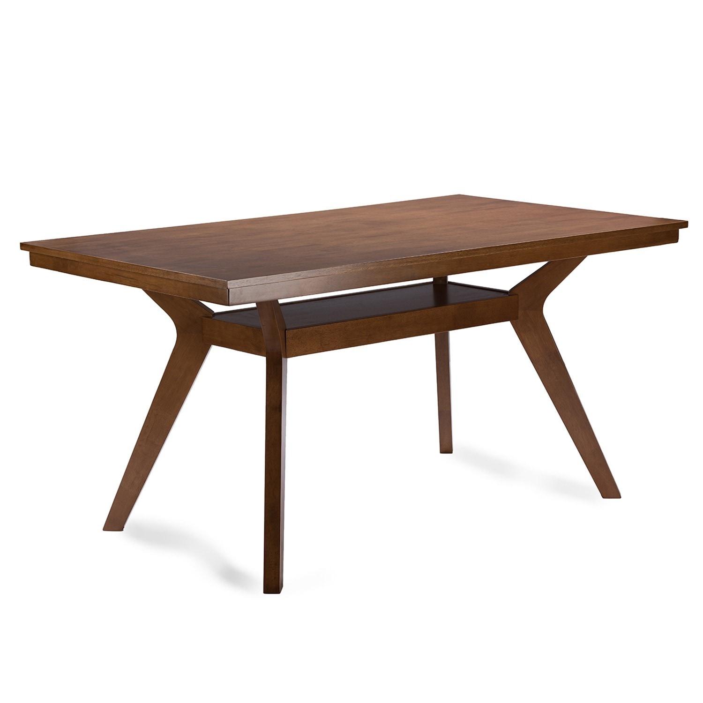 Shop Baxton Studio Montreal Midcentury Dark Walnut Wood Dining Set - Solid wood mid century dining table