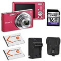 Sony Cyber-shot DSC-W830 Pink Digital Camera with 2 Batteries and 16GB Card Bundle