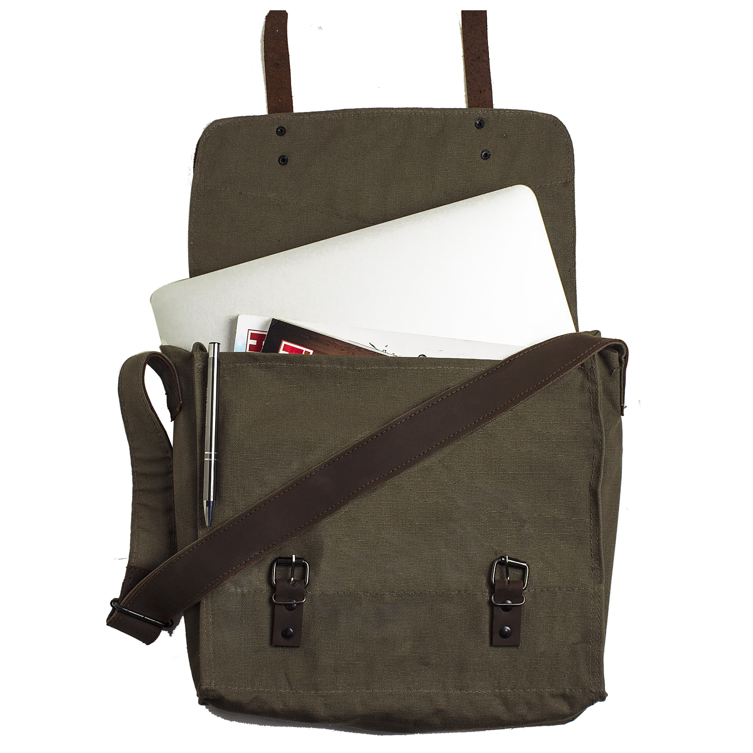 Personalized Canvas And Leather Messenger Bag Free Shipping Today 10175928