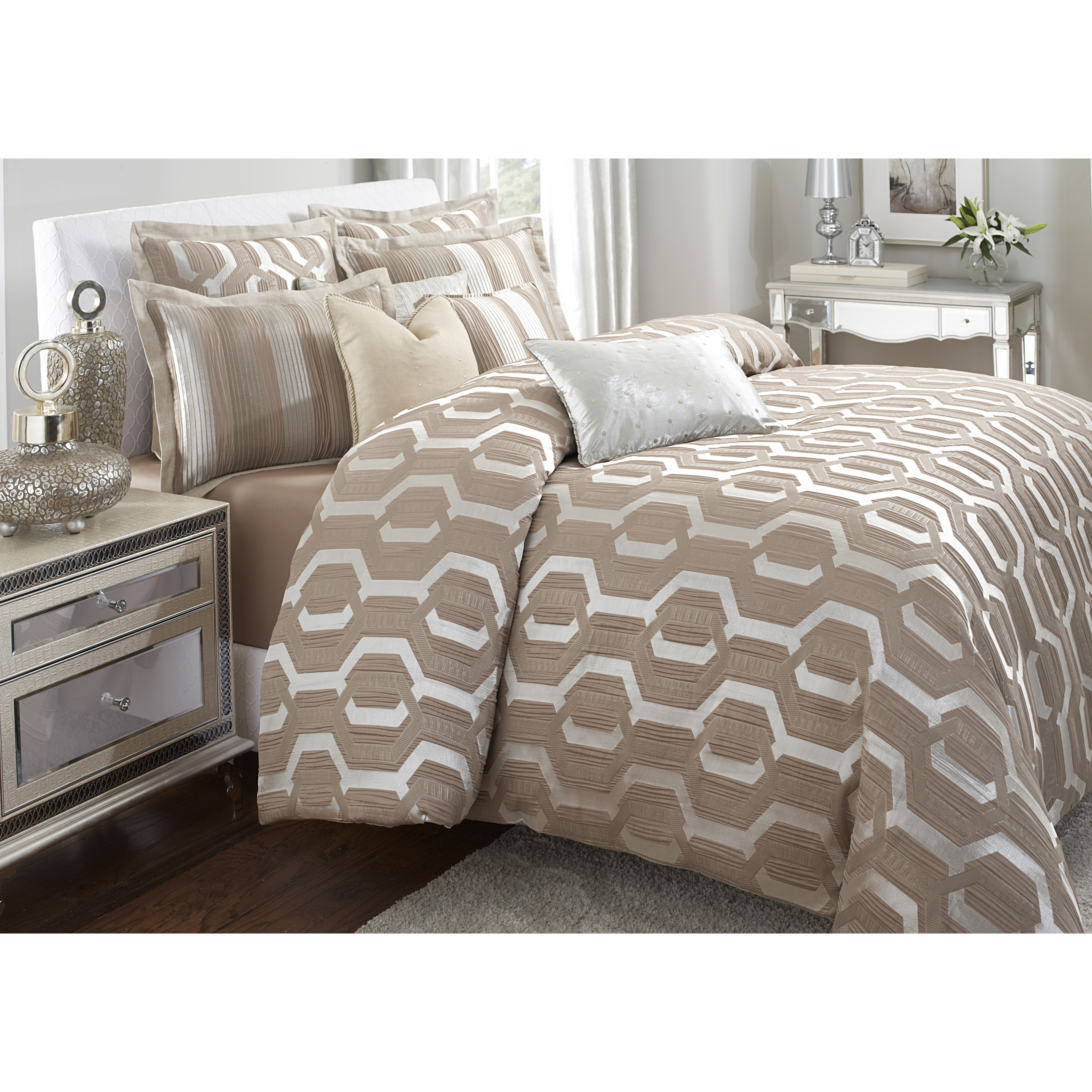 decoration taupe for sets using comforter hotel bedding ideas bed ruffled amini king michael com bedspread size bedroom luxury set discount wonderful