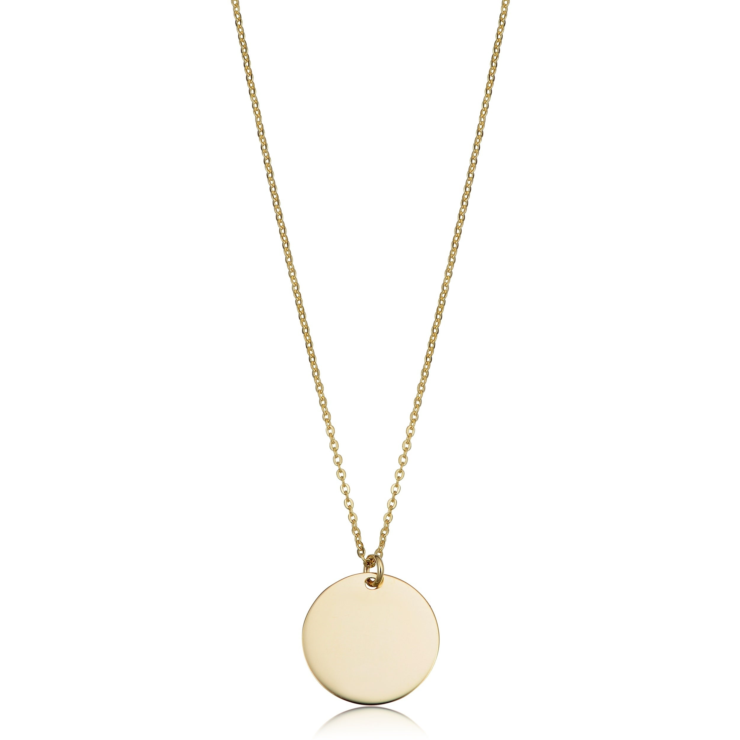 56cbf74241cc9 14k Gold High Polish Round Disc Adjustable Necklace (10 millimeters)