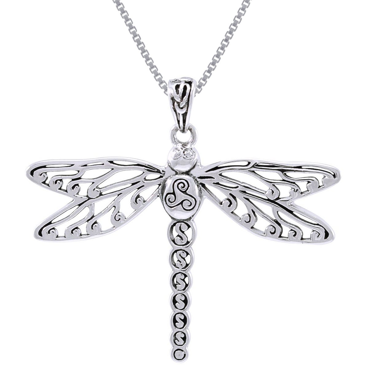 Sterling Silver Celtic Triskele Dragonfly Necklace - Free Shipping ...