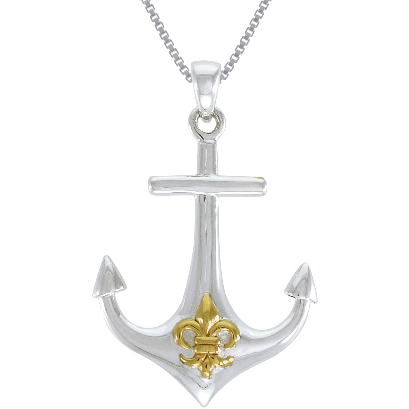 Sterling silver anchor pendant goldplated fleur de lis symbol sterling silver anchor pendant goldplated fleur de lis symbol necklace free shipping on orders over 45 overstock 17308731 aloadofball Gallery