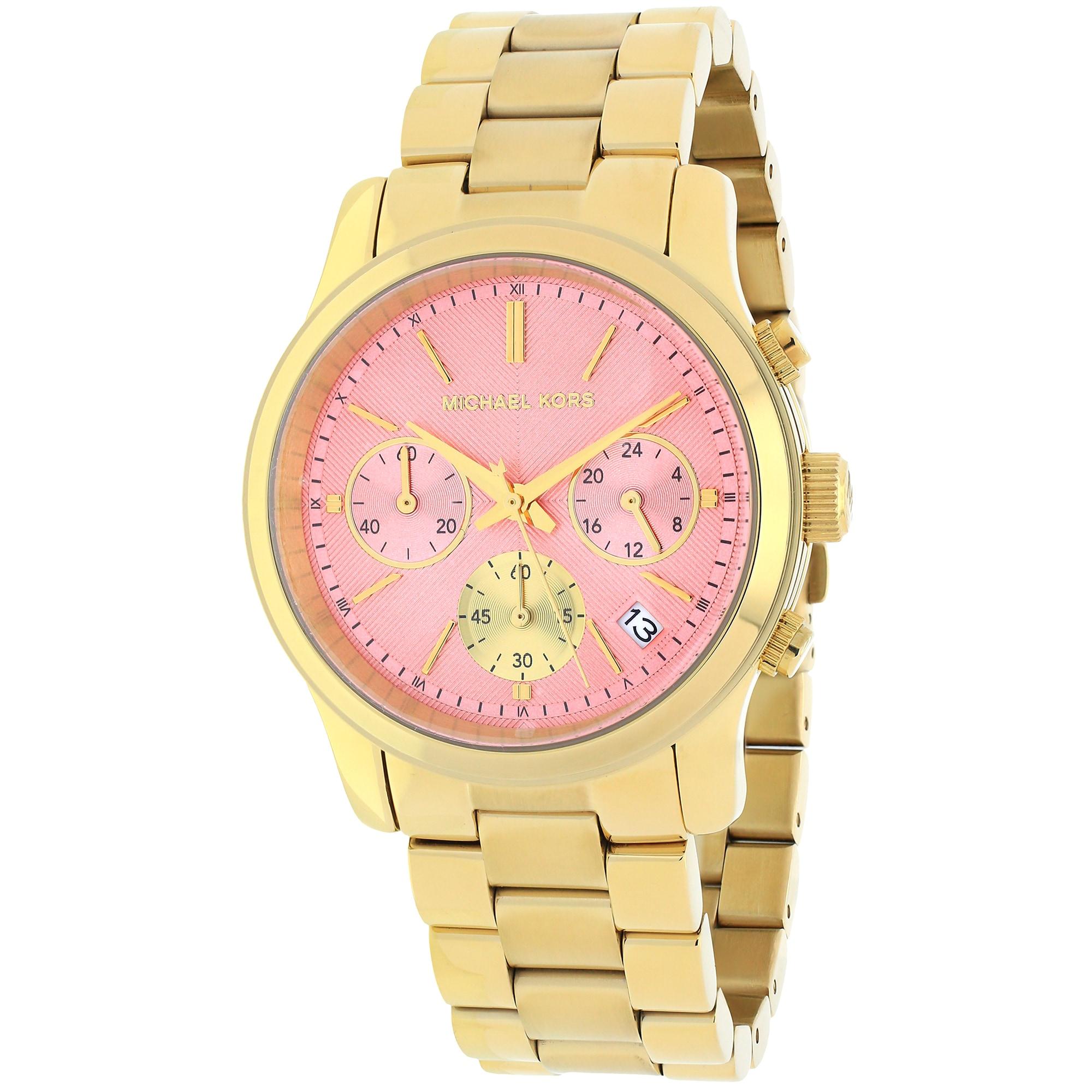 2868fe3e381 Shop Michael Kors Women s MK6161 Runway Round Goldtone Bracelet Watch -  Free Shipping Today - Overstock - 10183112