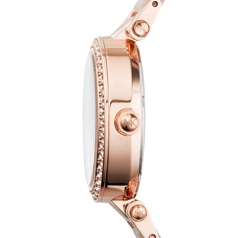 ecd06fa7a723 Shop Michael Kors Women s MK6110 Parker Round Rose Gold-tone with Blush  Acetate Bracelet Watch - Free Shipping Today - Overstock - 10183117