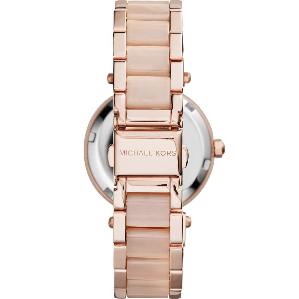 37e8589d2cc9 Shop Michael Kors Women s MK6110 Parker Round Rose Gold-tone with Blush  Acetate Bracelet Watch - Free Shipping Today - Overstock - 10183117