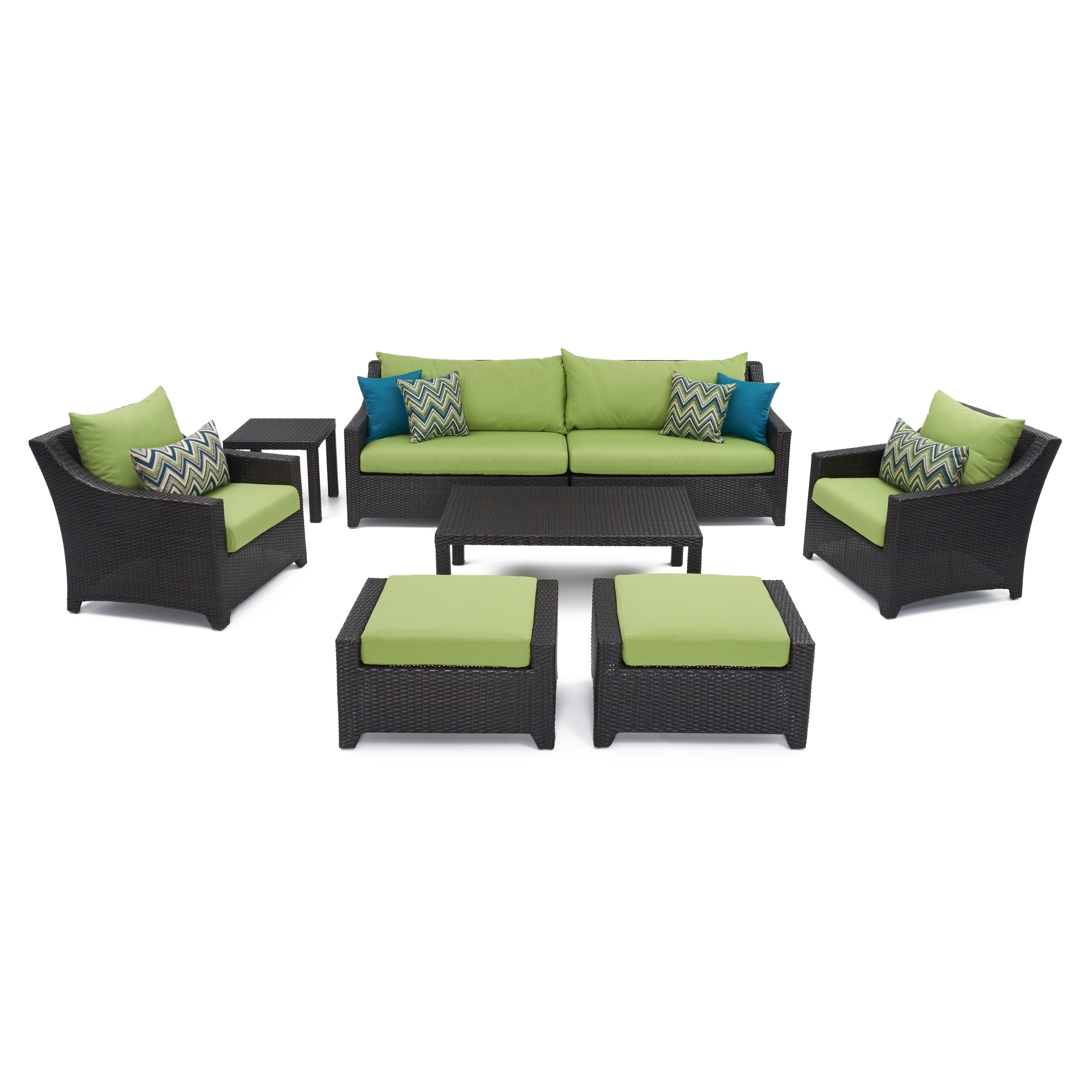 Rst brands deco 8 piece sofa and club chair deep seating set with gingko green cushions