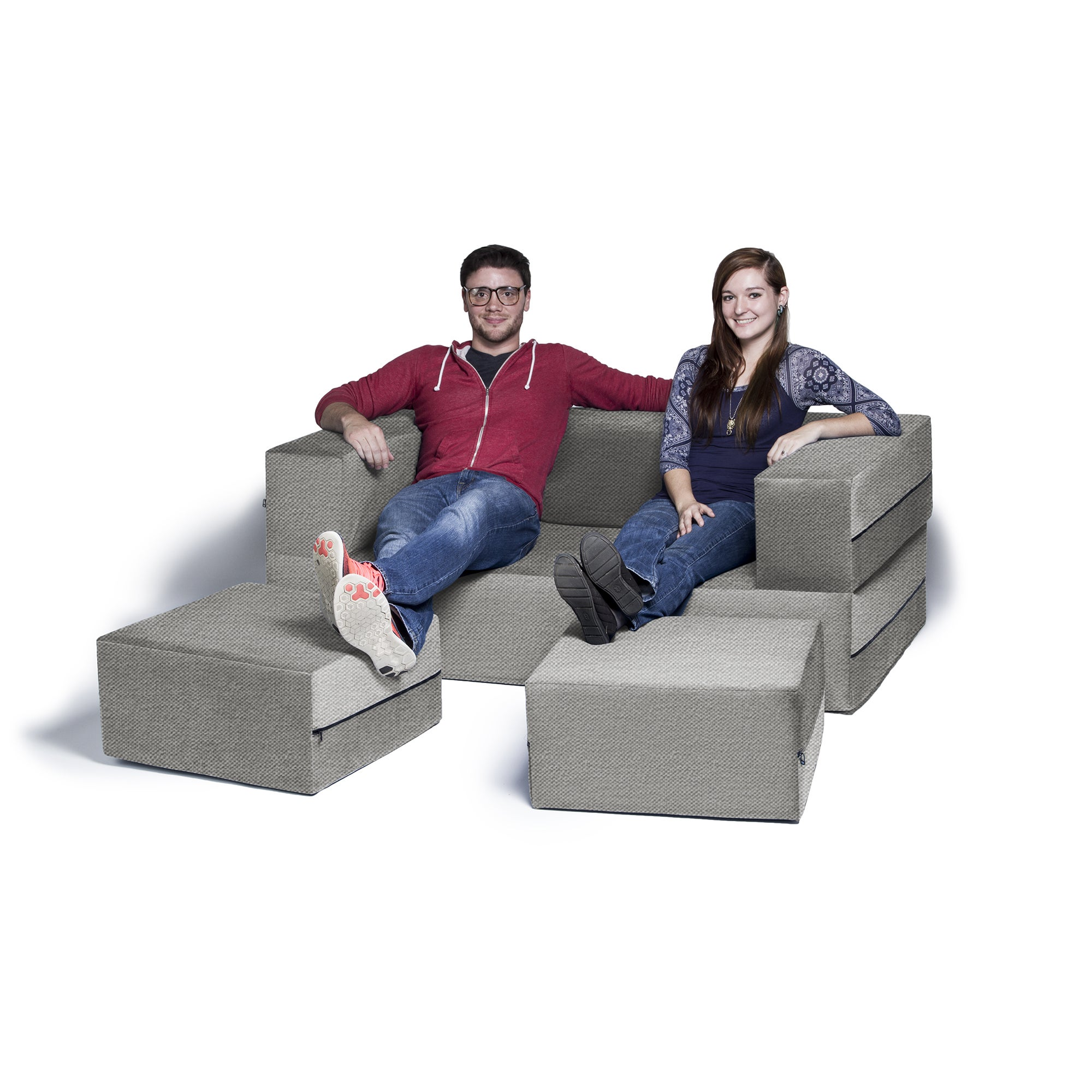 Jaxx Zipline Convertible Sleeper Loveseat And Ottomans Queen Size  ~ Queen Sleeper Sofa Dimensions When Open