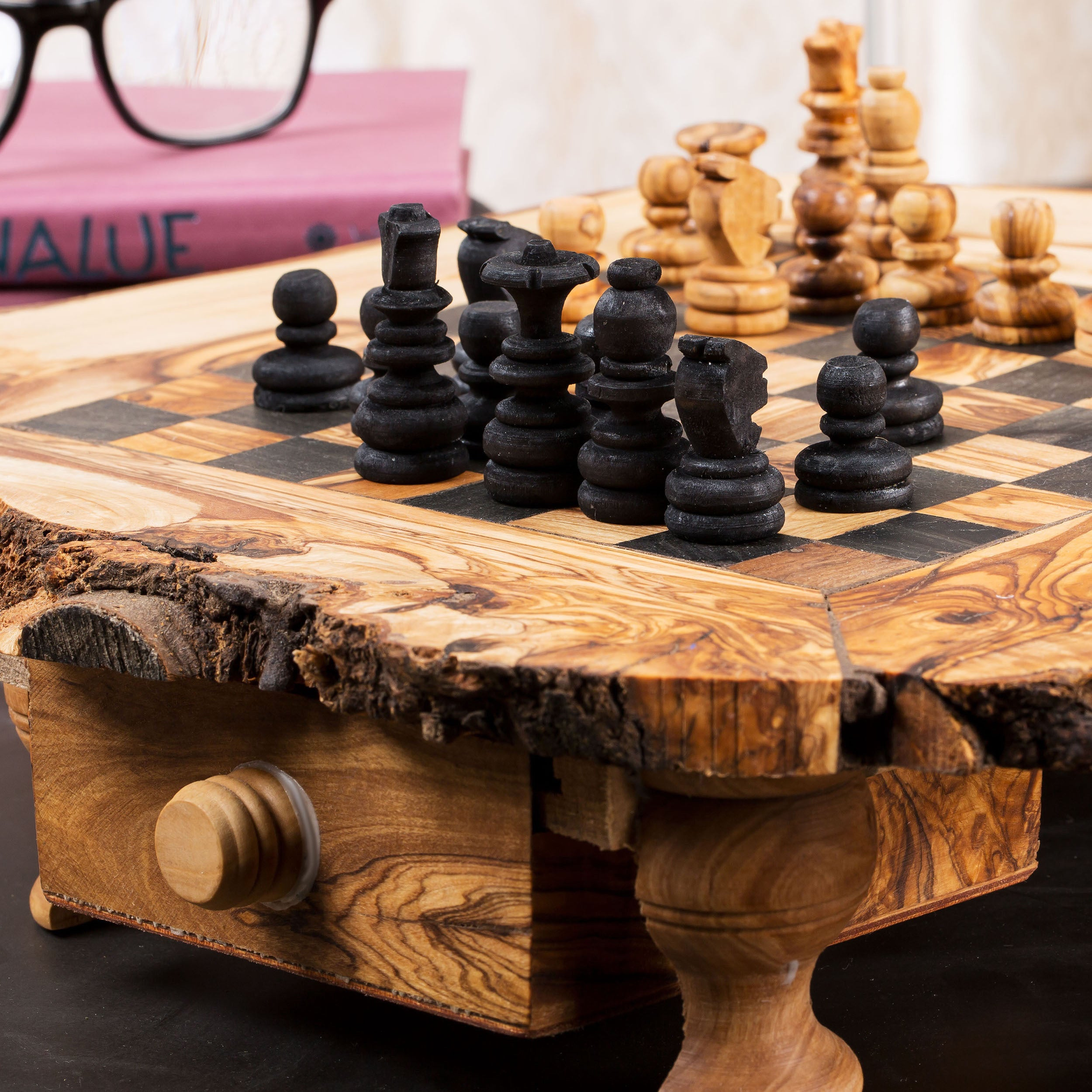 Shop Handmade Large Olive Wood Chess Board Set (Tunisia)   Free Shipping  Today   Overstock.com   10186854
