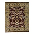 Hand-knotted Burgundy Agra Oriental Rug (8' x 9'9)