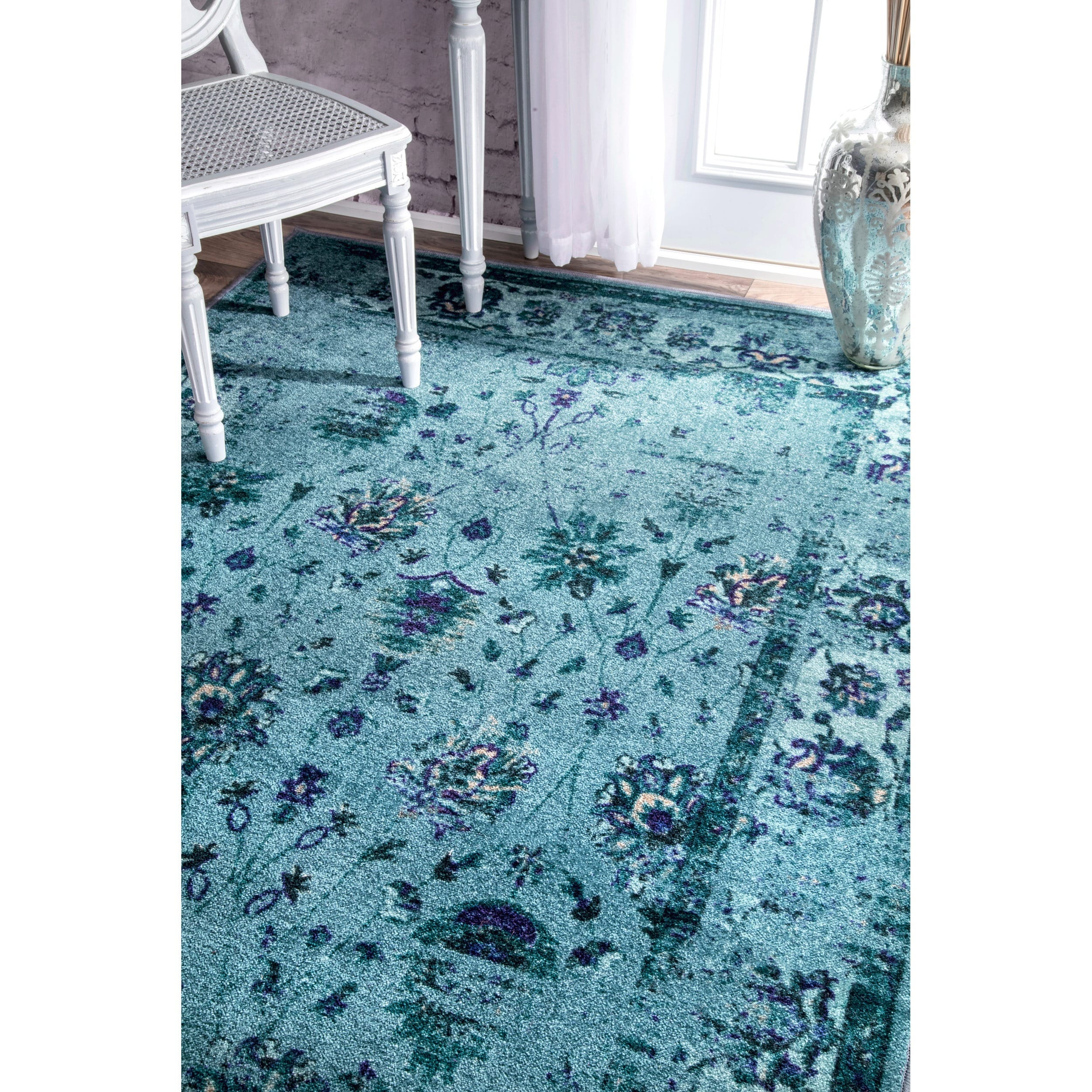 Nuloom Traditional Vintage Inspired Overdyed Fl Turquoise Rug 5 X 8 On Free Shipping Today 10187179