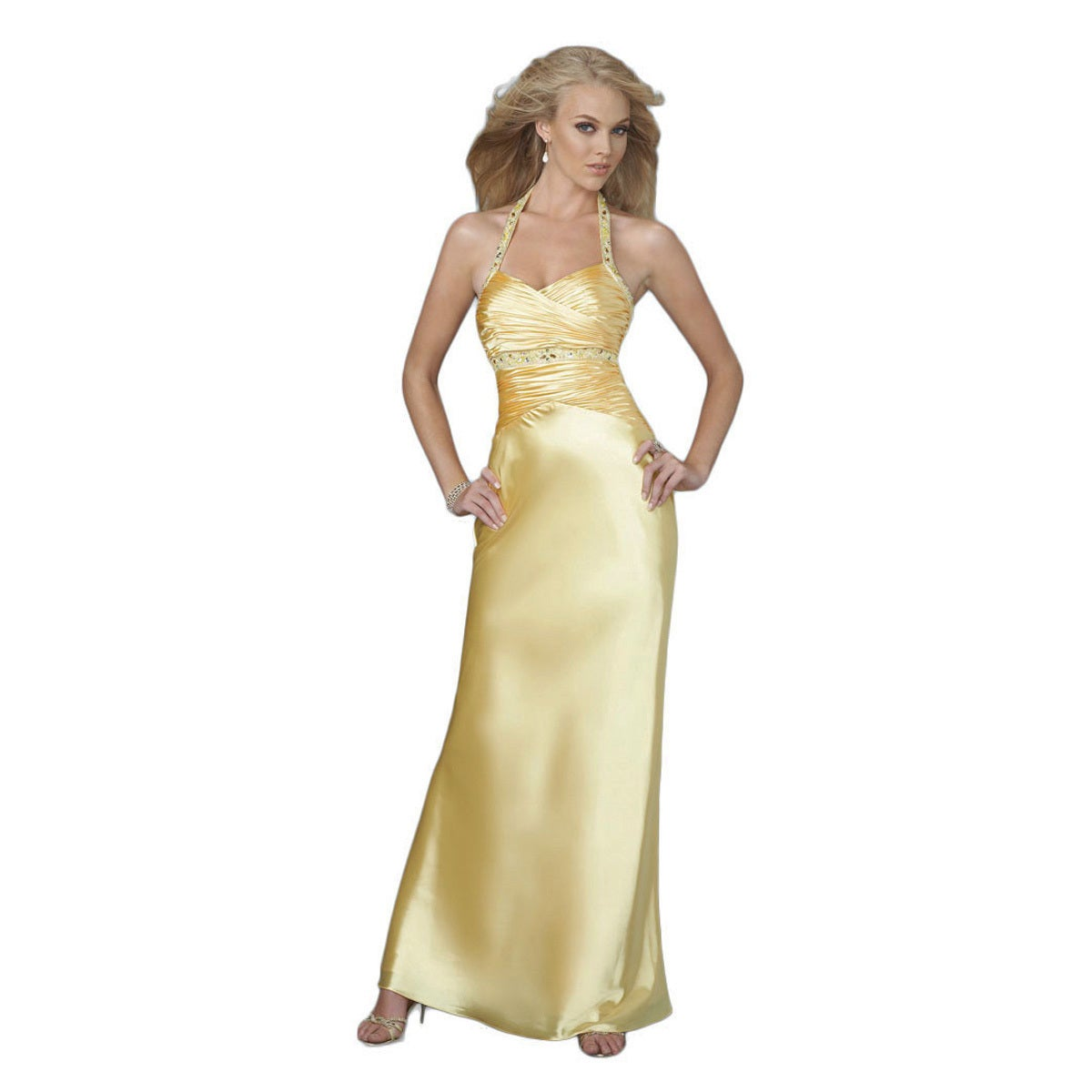 Shop Women\'s Yellow Satin Halter Gown with Ruched Bustline - Free ...