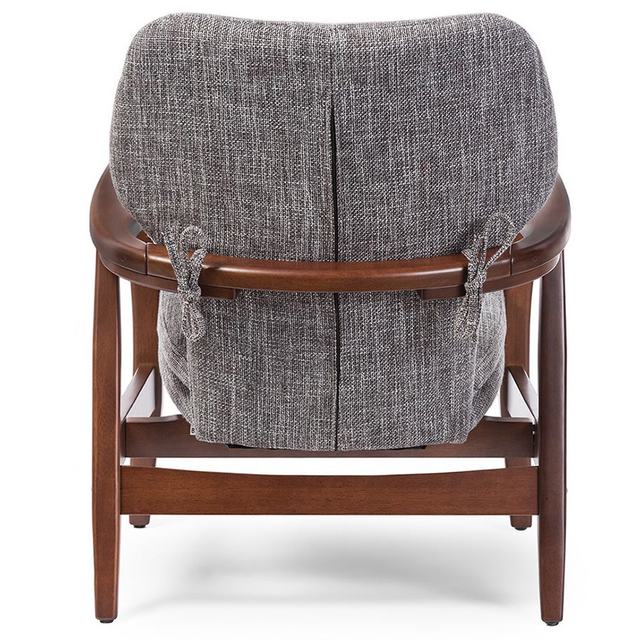 Shop Dobra Mid Century Modern Grey Fabric Upholstered Club Chair With Sleek  Polished Wood Arms In Walnut Finishing   Free Shipping Today    Overstock.com   ...