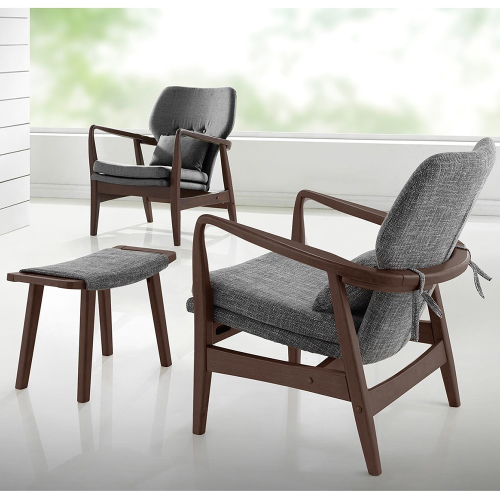 Delicieux Shop Dobra Mid Century Modern Grey Fabric Upholstered Club Chair With Sleek  Polished Wood Arms In Walnut Finishing   Free Shipping Today    Overstock.com   ...