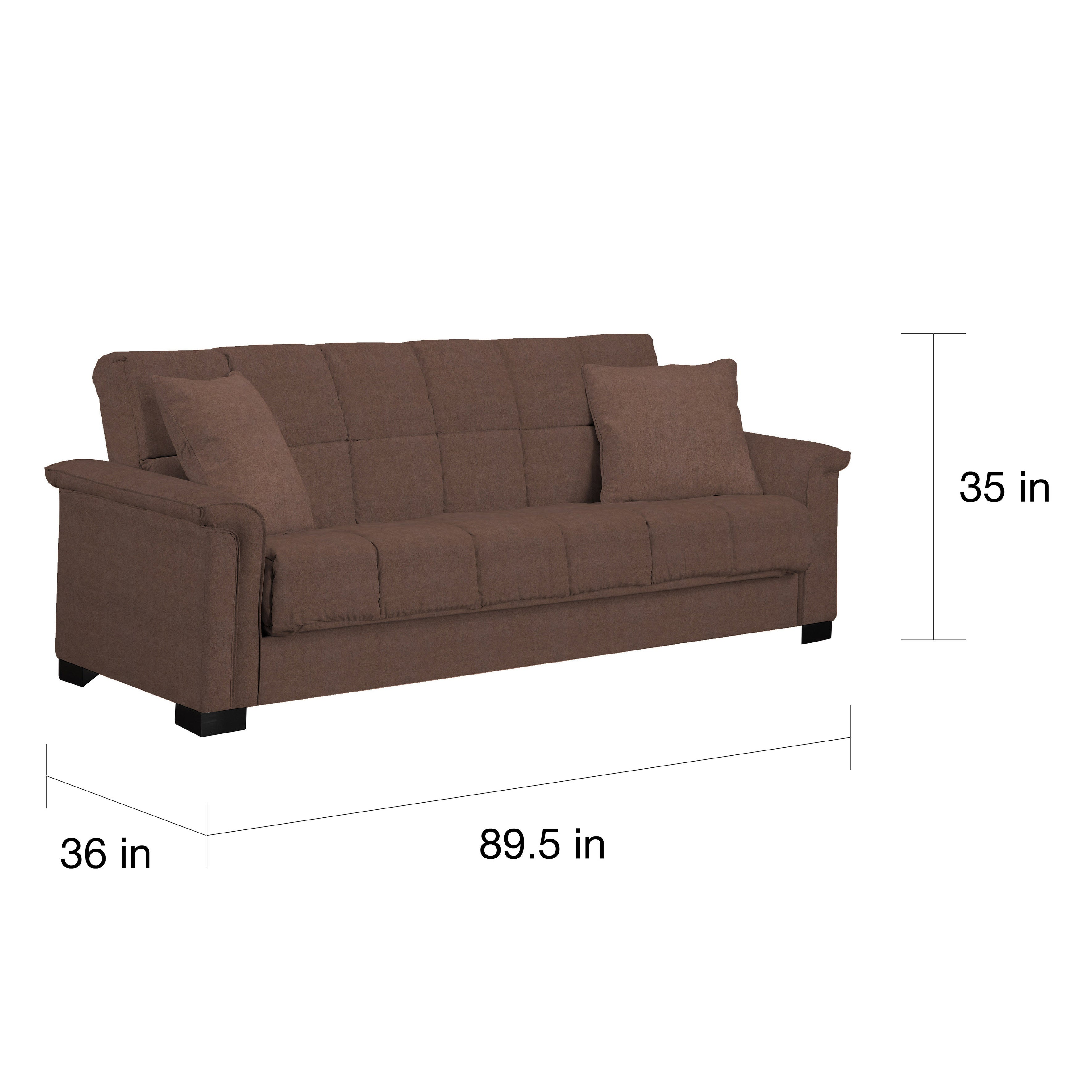 Handy Living Caroline Brown Microfiber Convert A Couch Sleeper Sofa  Free