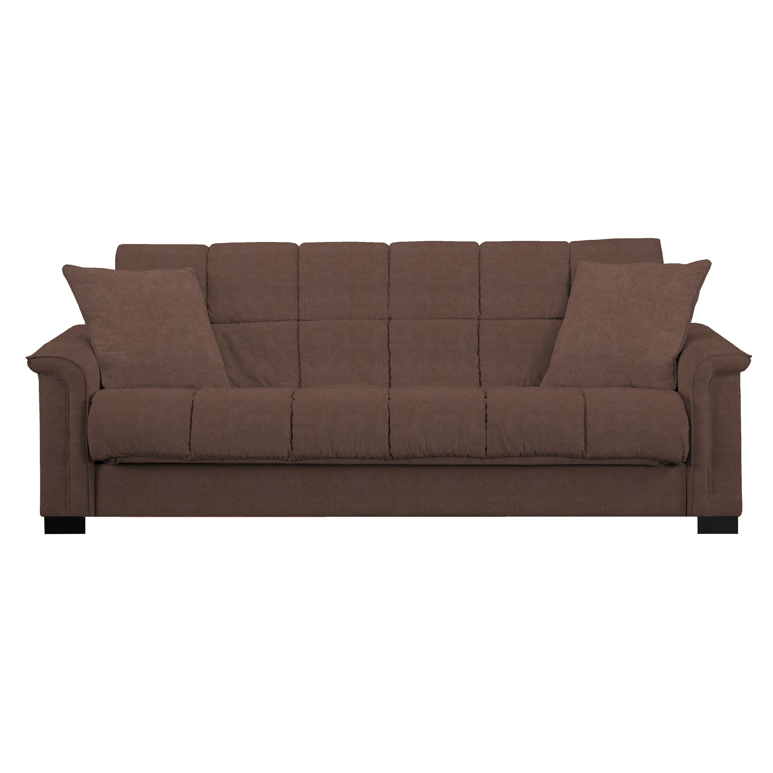 Handy Living Caroline Brown Microfiber Convert A Couch Sleeper Sofa On Free Shipping Today 10188054