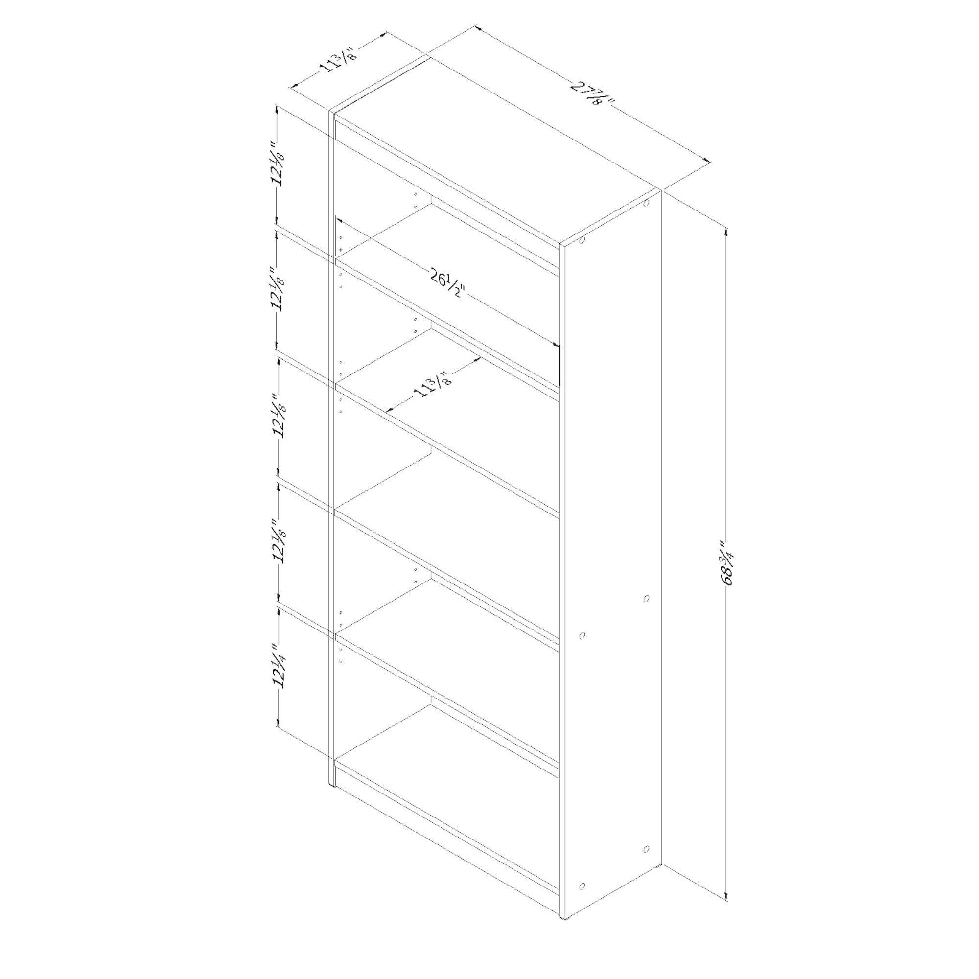 Shop South Shore Pure Black Axess 5 Shelf Bookcase   Free Shipping Today    Overstock.com   10191125