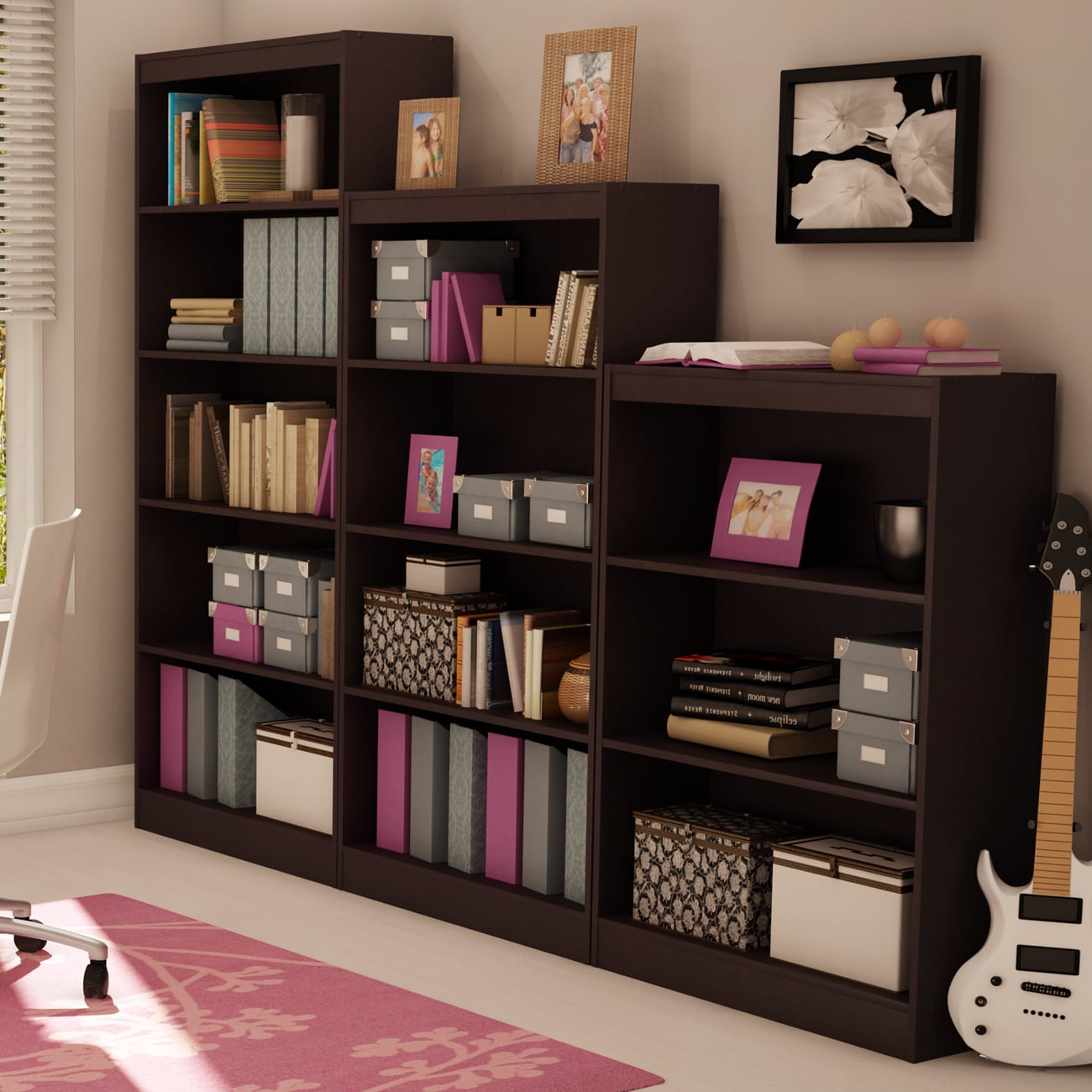 Shop South Shore Chocolate Axess 5 Shelf Bookcase   Free Shipping Today    Overstock.com   10191141
