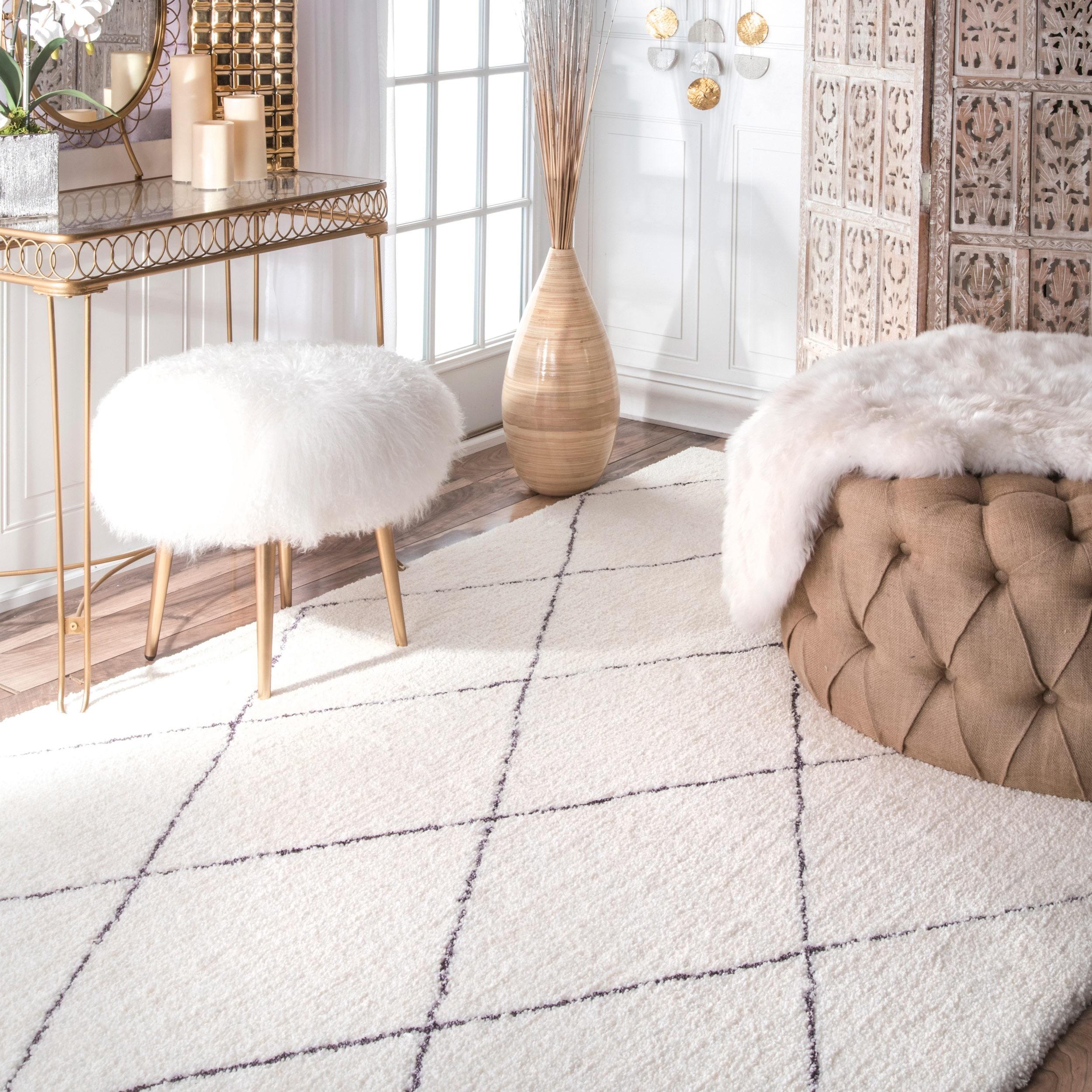 brown x wool trellis nuloom rug pin ivory shag size soft white handmade moroccan