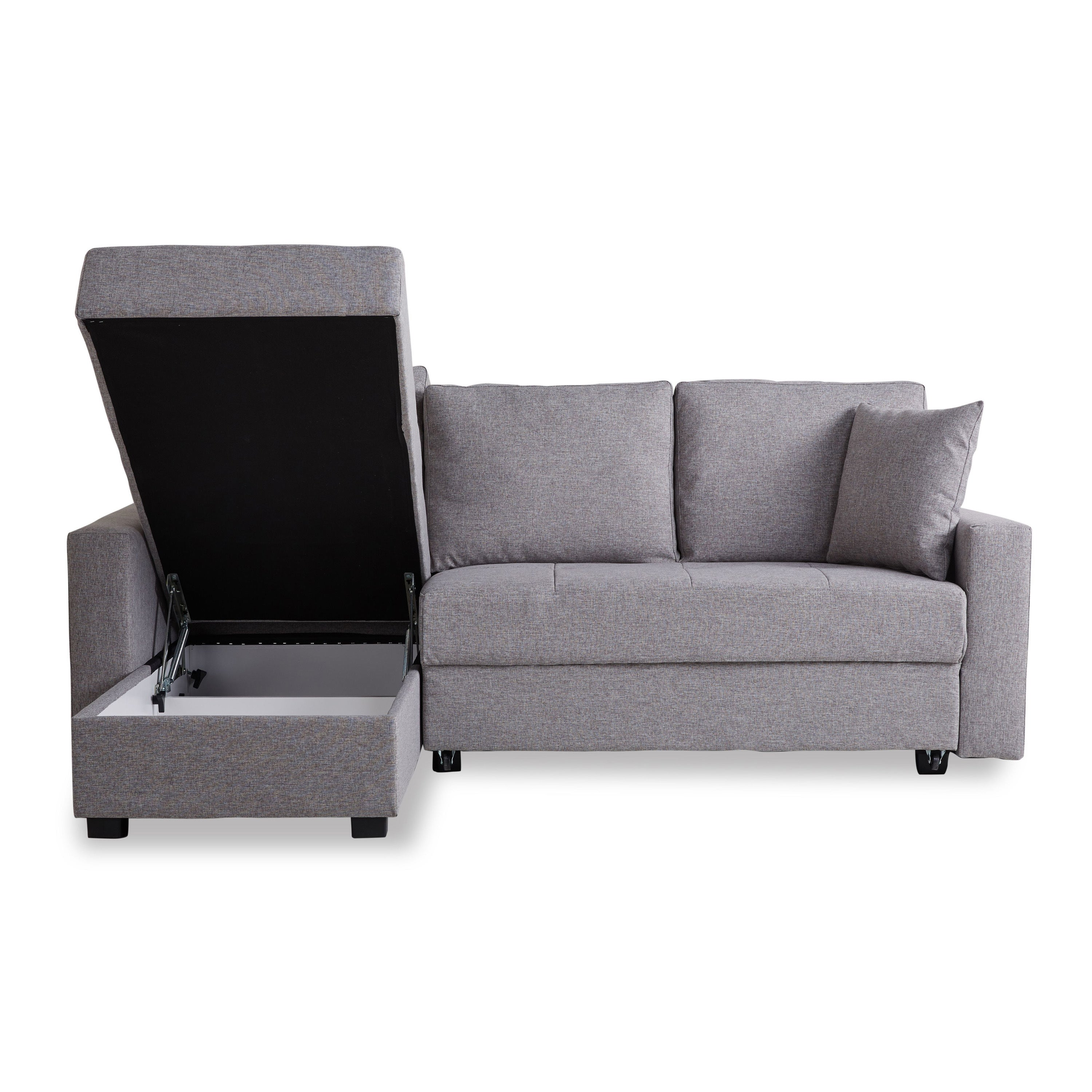 Shop Aspen Ash Convertible Sectional Storage Sofa Bed   Free Shipping Today    Overstock.com   10191432