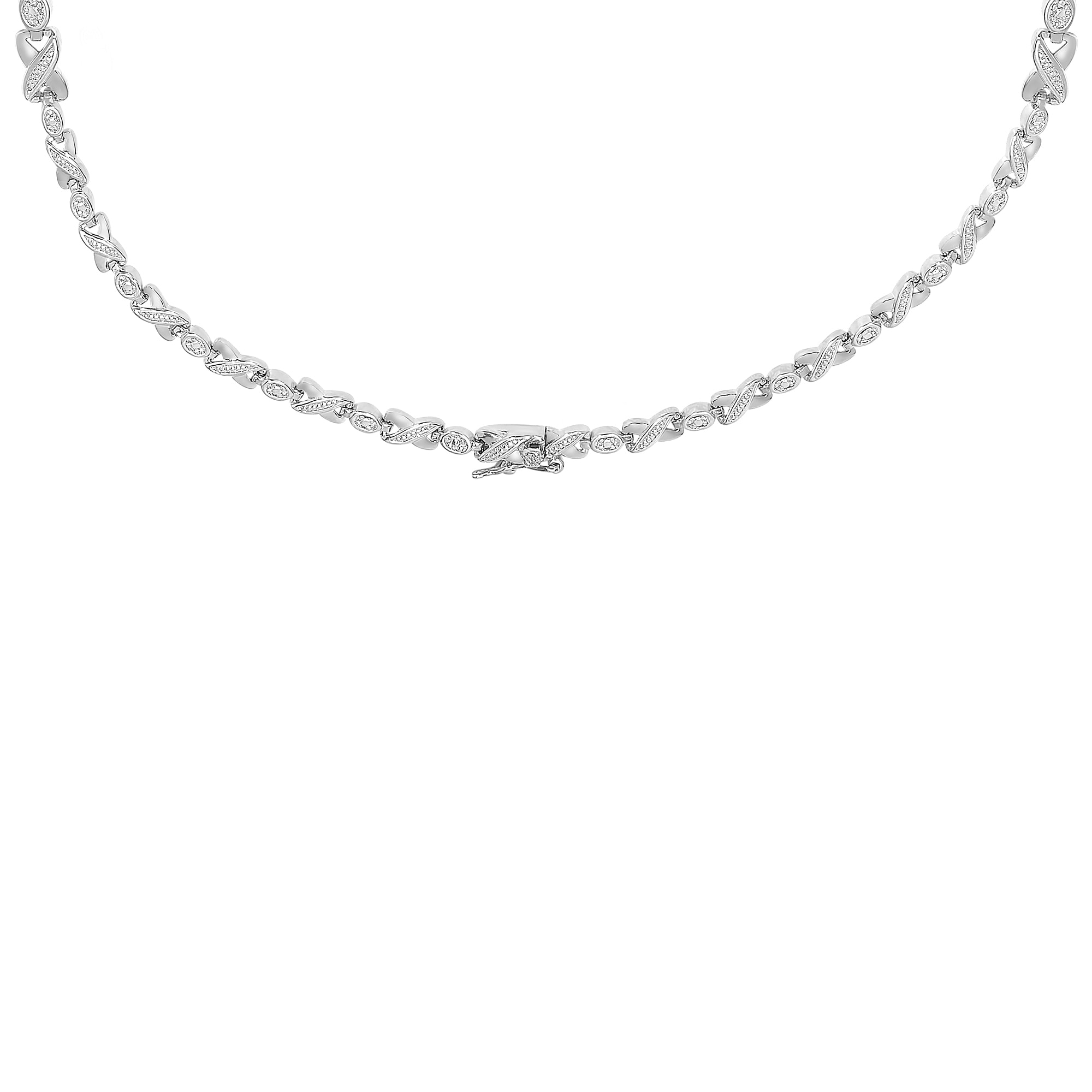 760c565d99b91 Dolce Giavonna Sterling Silver or Gold Over Silver Gemstone And Diamond  Accent XO Necklace
