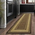 Ottomanson Ottohome Collection Contemporary Bordered Design Modern Chocolate Hallway Runner Rug (2'7 x 9'10)