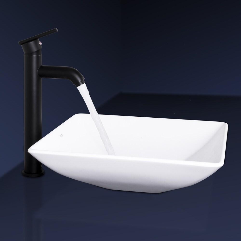 VIGO Hibiscus Matte Black Stone Vessel Sink and Seville Bathroom ...
