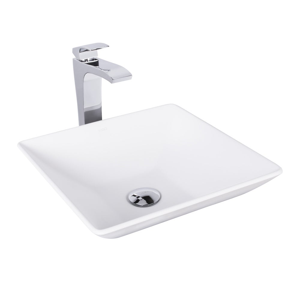 VIGO Matira Matte Stone Vessel Sink and Blackstonian Bathroom Vessel ...